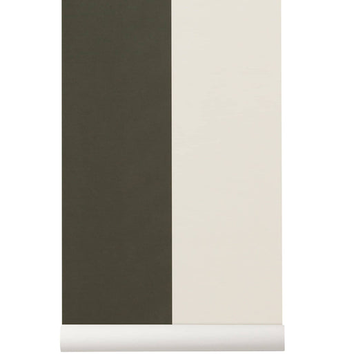 Ferm Living Thick Lines Wallpaper - Green/Off White - HUH. Store