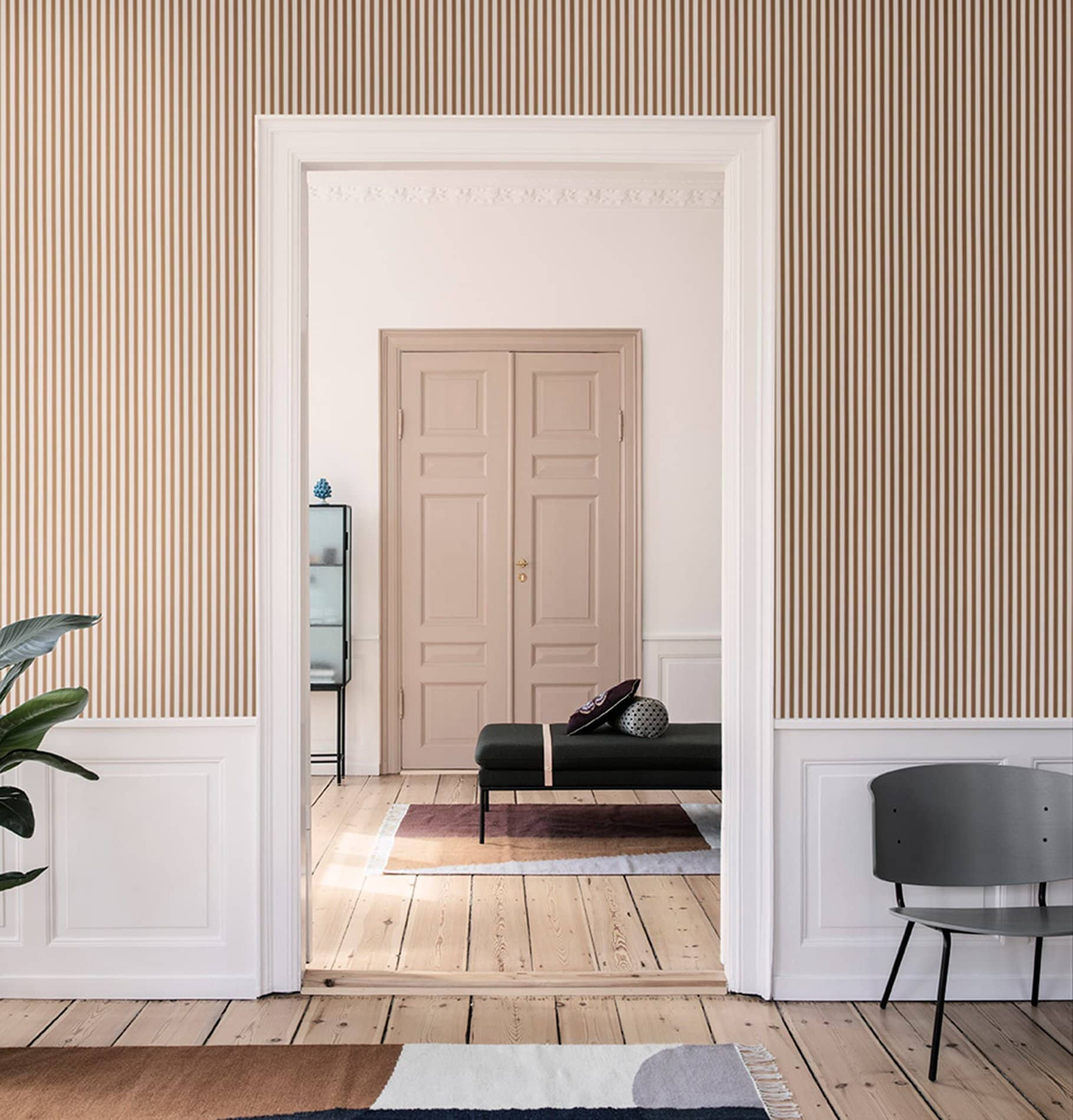 Ferm Living Thin Lines Wallpaper - Mustard/Off White