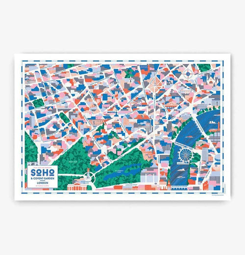 Illustrated Map of Soho & Covent Garden - HUH. Store
