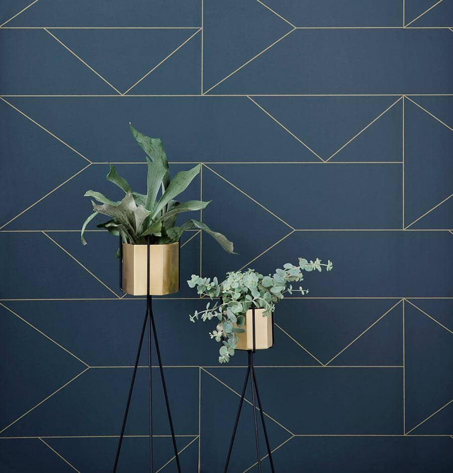 Ferm Living Lines Wallpaper - Dark Blue
