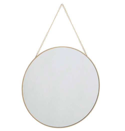 Bloomingville Round Gold Mirror with Chain