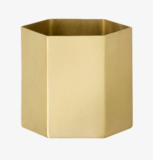 Ferm Living Brass Hexagon Pot (Large) - HUH. Store