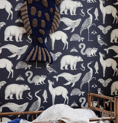 Ferm Living Katie Scott Wallpaper – Animal – Dark Blue