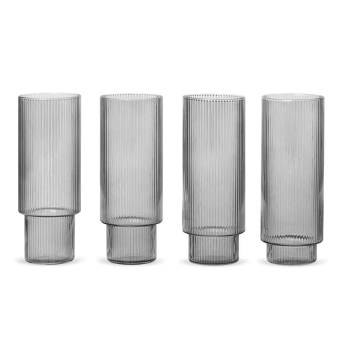 Ferm Living Long Ripple Glasses – Set of 4 – Smoked Grey