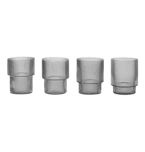 Ferm Living Ripple Glasses – Set of 4 – Smoked Grey