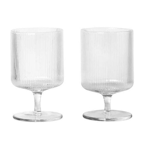 Ferm Living Ripple Wine Glasses – Set of 2 – Clear