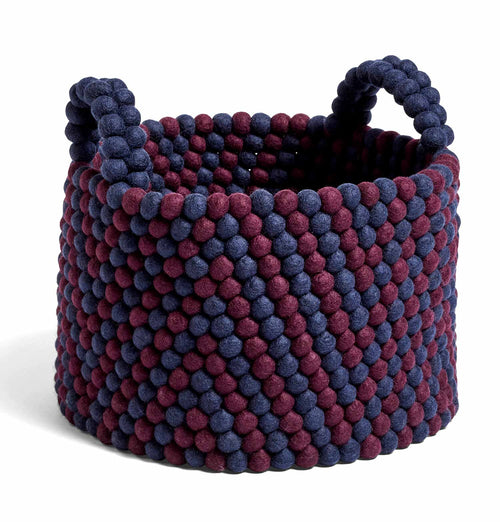 HAY Bead Basket with Handle – Burgundy Chevron