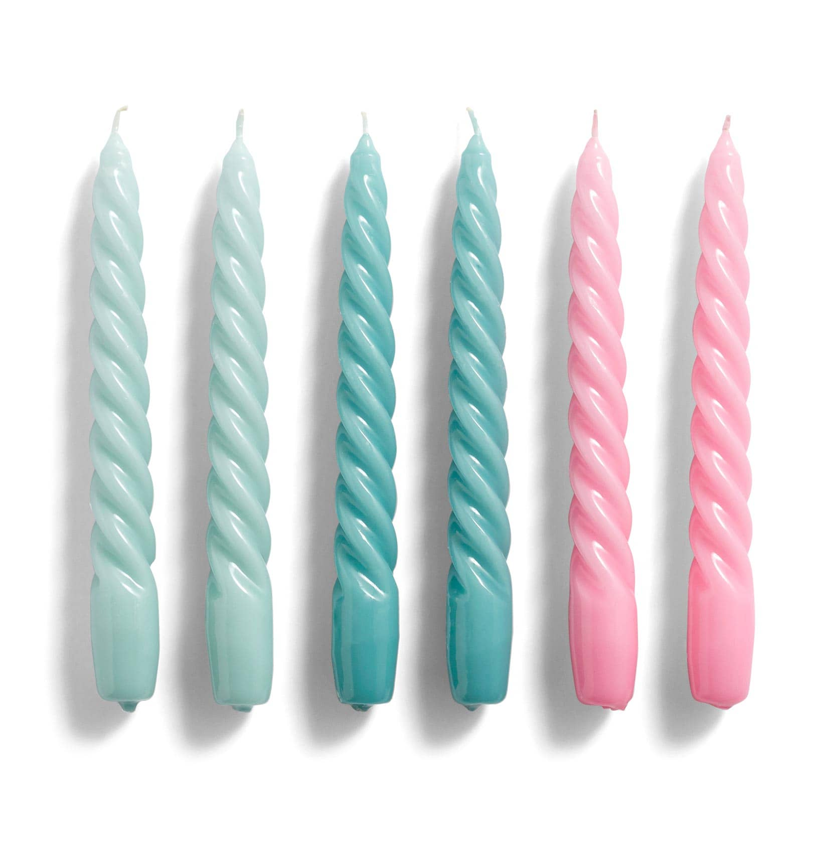 HAY Candle – Set of 6 – Twist – Arctic Blue, Teal, Pink