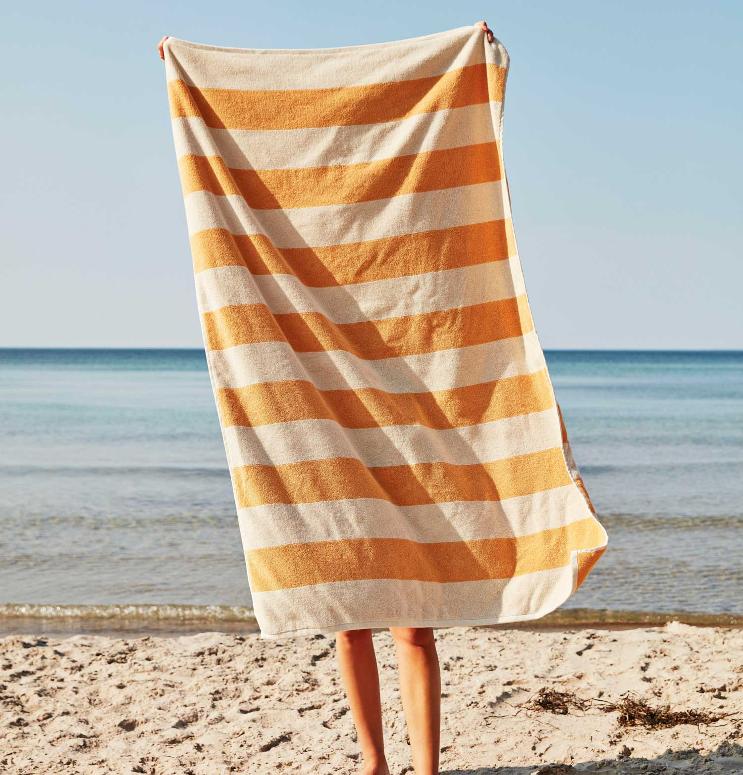HAY Frotté Stripe Bath Towel – Warm Yellow