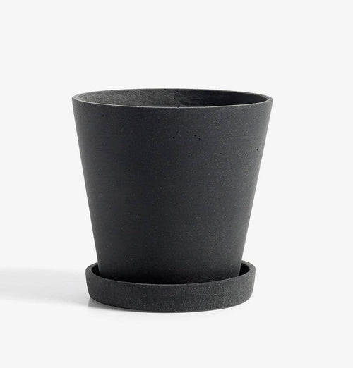 HAY Medium Flowerpot with Saucer - Black - HUH. Store