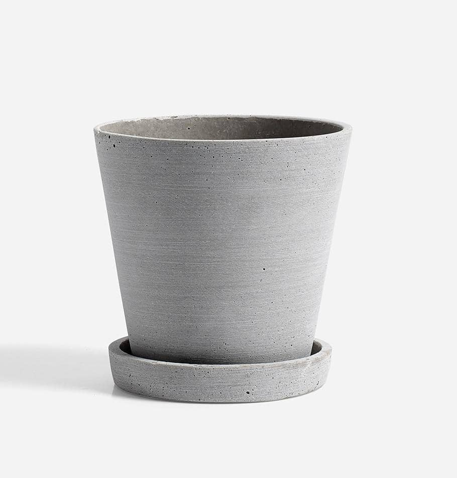 HAY Medium Flowerpot with Saucer - Grey - HUH. Store