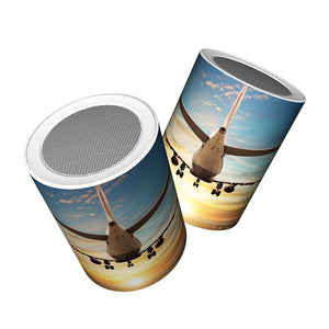 Airplane over Runway Towards the Sunrise Designed Bluetooth Speakers