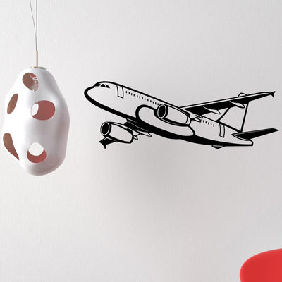 Amazing Silhouette of Airbus A320 Designed Wall Sticker