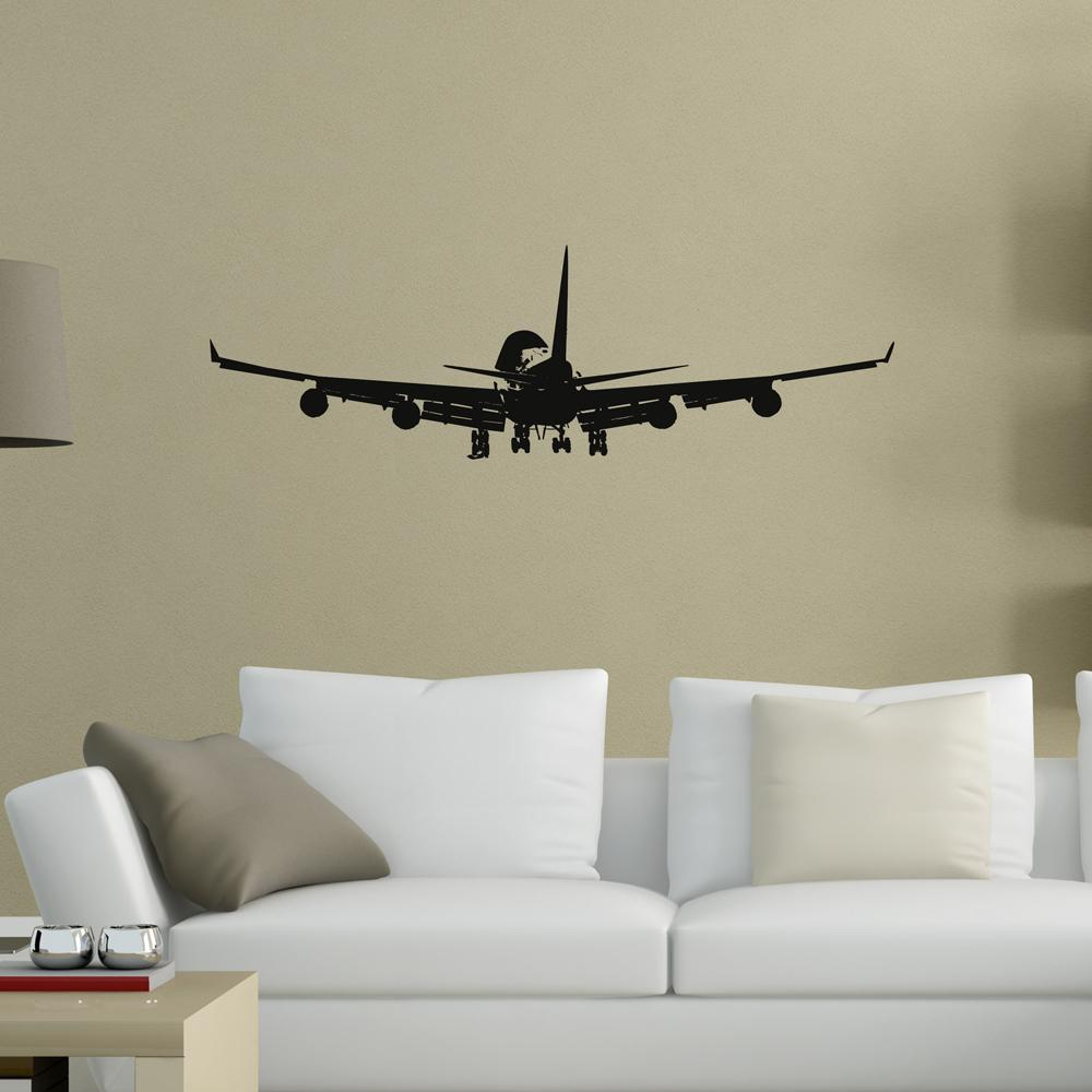 Landing Boeing 747 from Behind Designed Wall Sticker