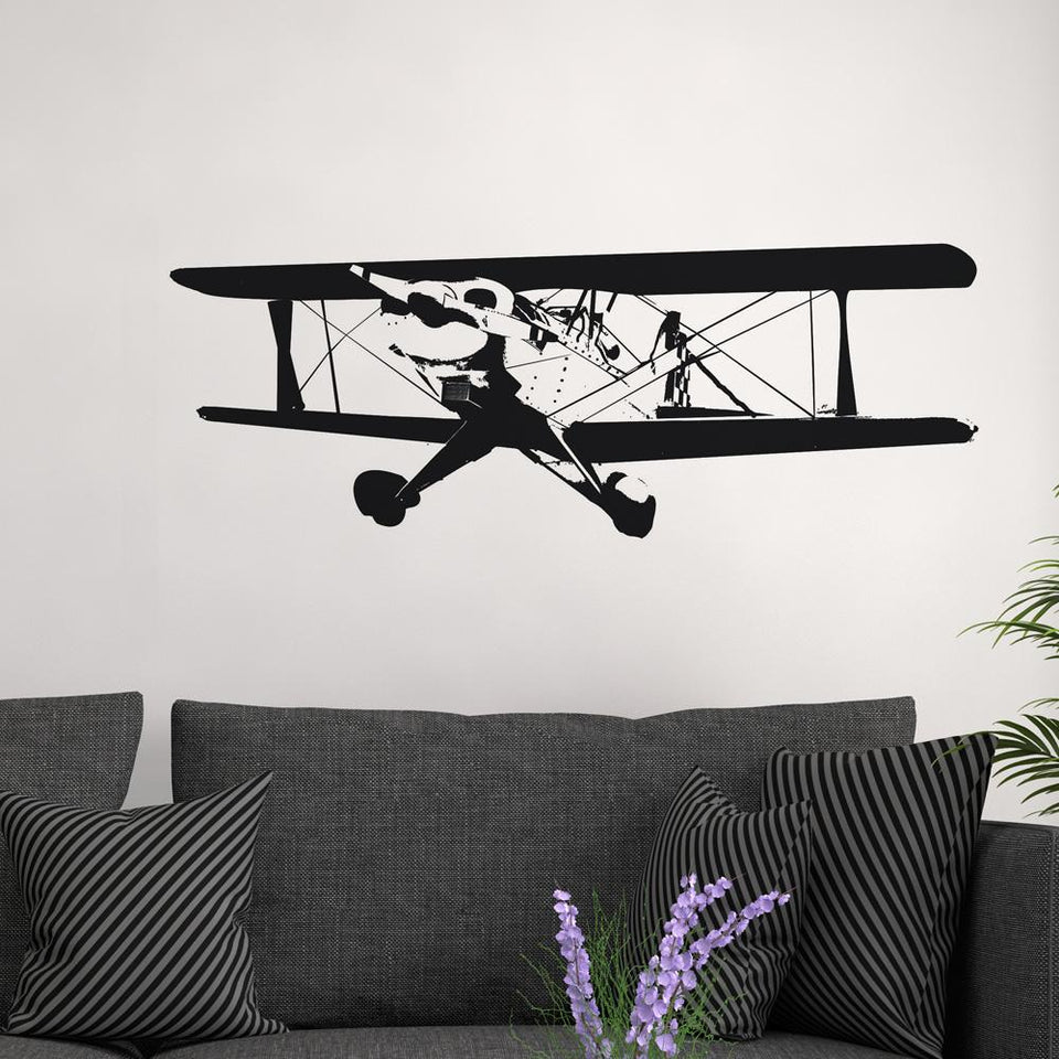 Double Decker Show Aircraft Designed Wall Sticker Aviation Shop