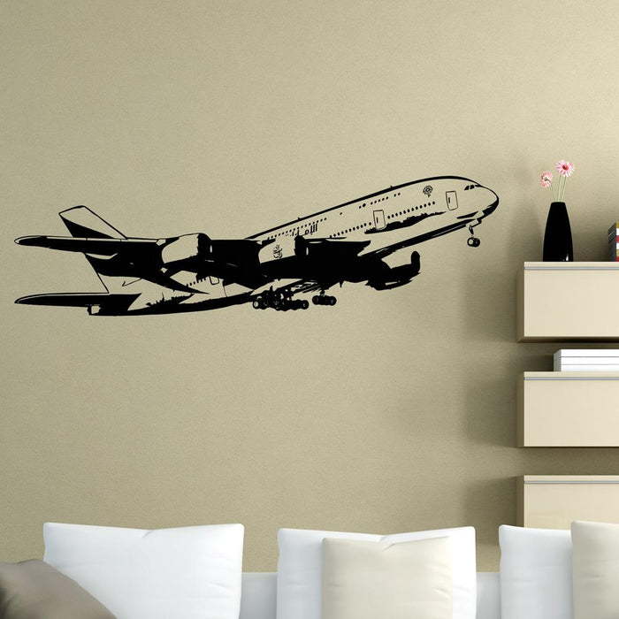 Departing Airbus A380 Designed Wall Sticker Pilot Eyes Store