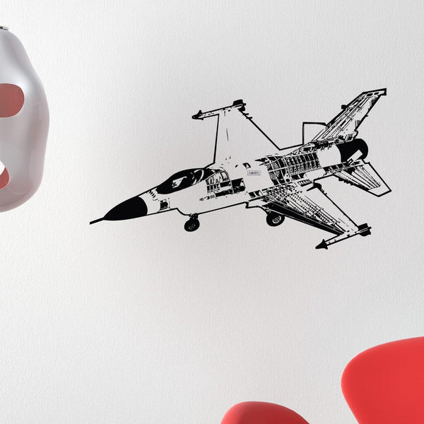 Very Detailed Fighting Falcon F16 Designed Wall Sticker