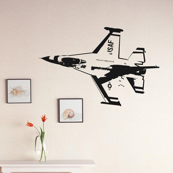 USAF Fighting Falcon F16 Designed Wall Sticker