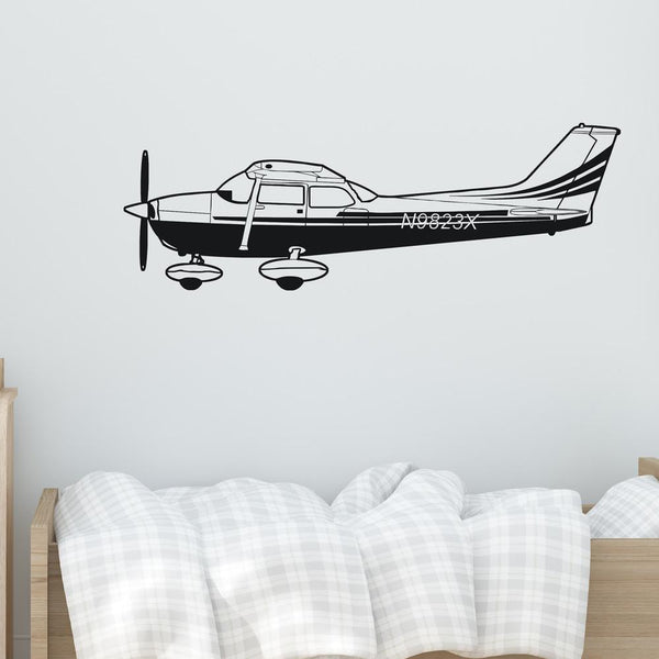 Cessna 172 From Side Designed Wall Sticker Aviation Shop
