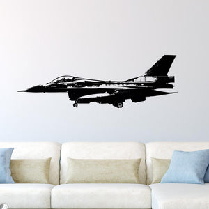Fighting Falcon from Side Designed Wall Sticker Aviation Shop