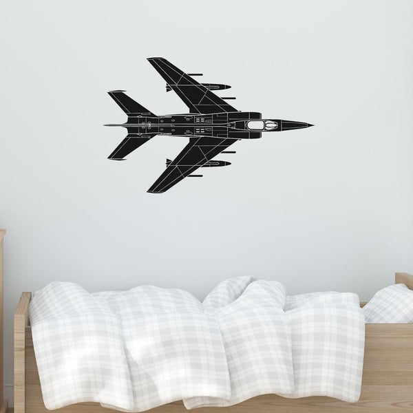 Detailed Superjet from Above Designed Wall Sticker