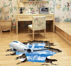 3D Airplane & Sky Designed Floor & Wall Sticker