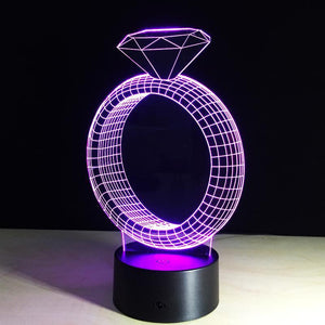 3D Outstanding Diamond Ring Designed Night Lamp