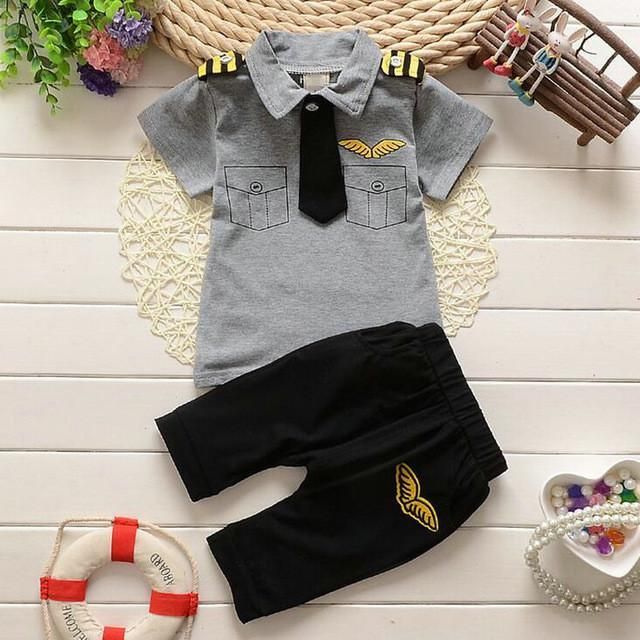 3D Pilot Uniform T-Shirt + Short Pants For Kids