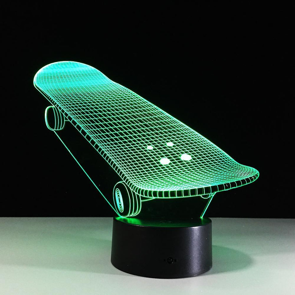 3D Skateboard Designed Night Lamp