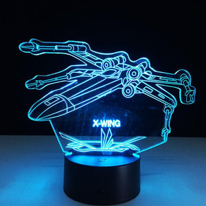 3D Star Wars X-Wing Fighter Jet Designed Night Lamp