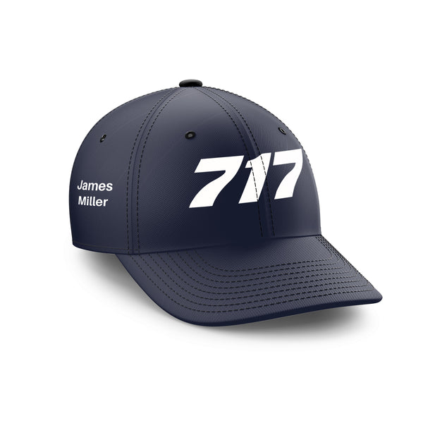 Customizable Name & 717 Flat Text Embroidered Hats