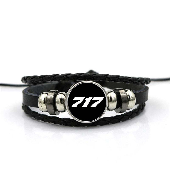 717 Flat Text Designed Leather Bracelets