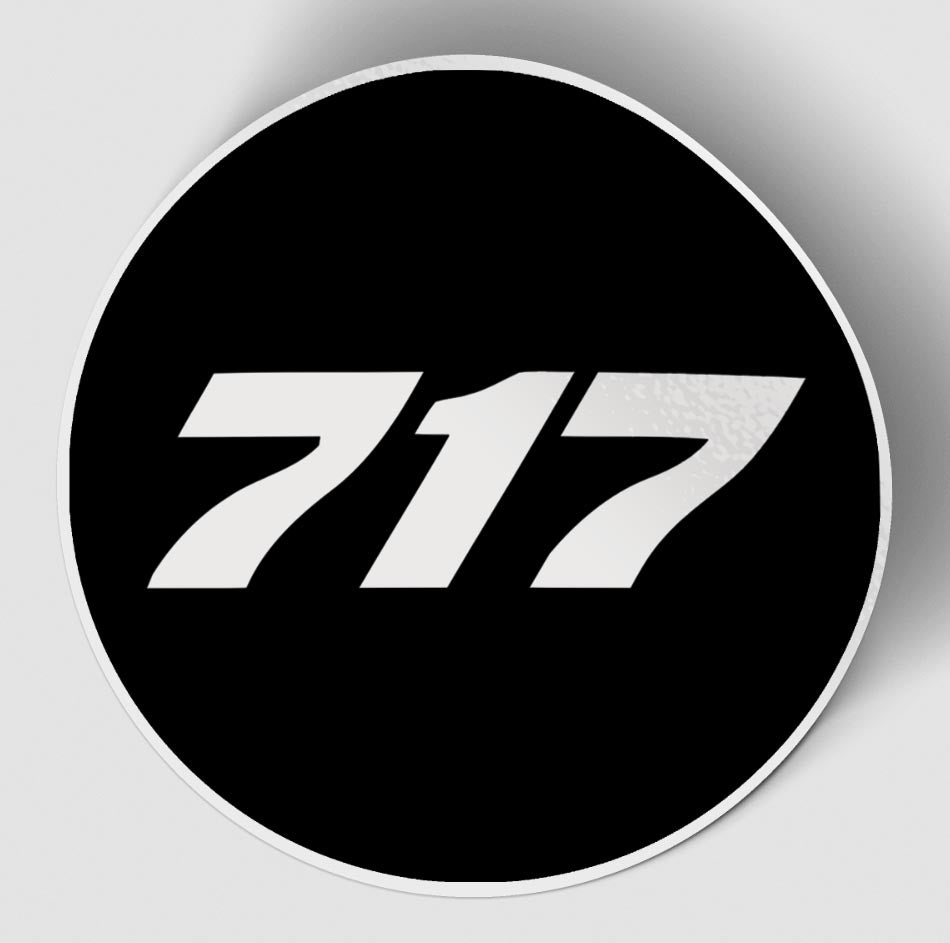 717 Flat Text Black Designed Stickers