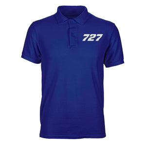 Boeing 727 Flat Text Designed Polo T-Shirts