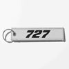 Boeing 727 Flat Text Designed Key Chains