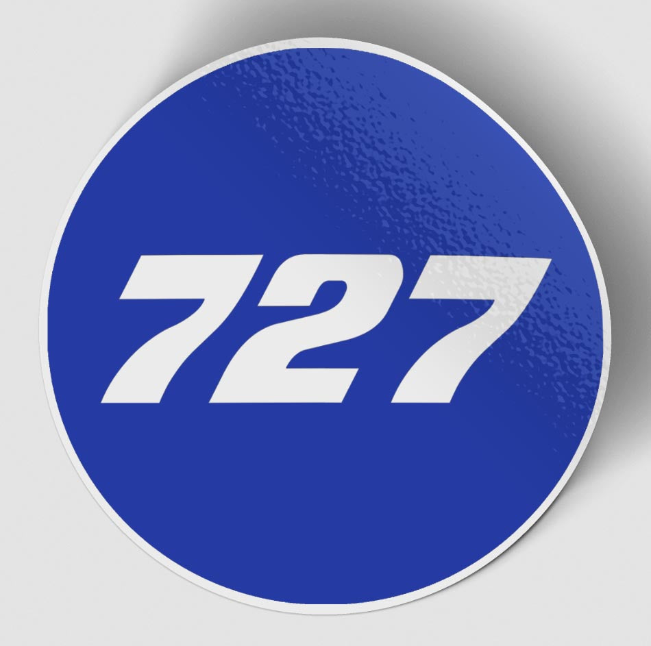 727 Flat Text Blue Designed Stickers