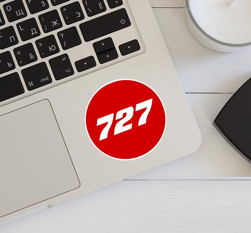 727 Flat Text Red Designed Stickers