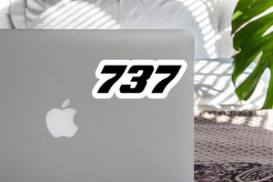 737 Flat Text Designed Stickers
