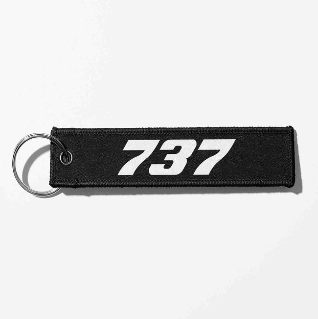 Boeing 737 Flat Text Designed Key Chains