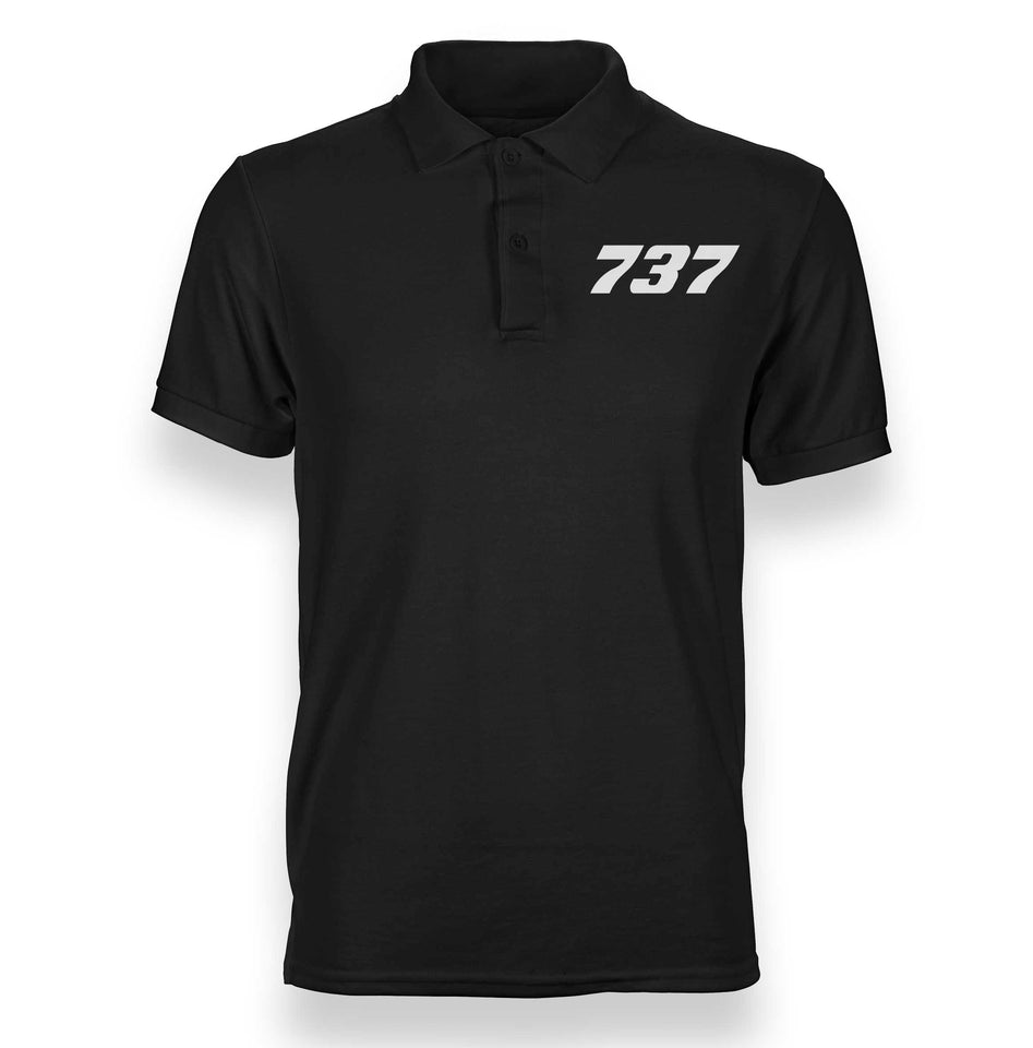 Boeing 737 Flat Text Designed Polo T-Shirts