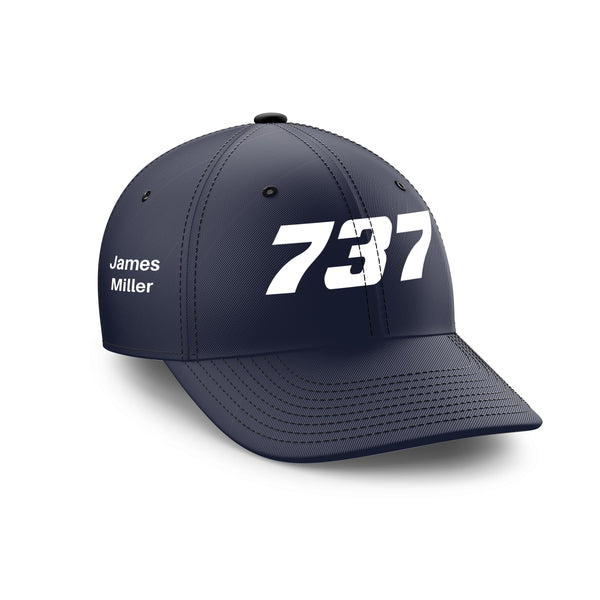 Customizable Name & 737 Flat Text Embroidered Hats