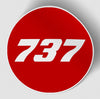 737 Flat Text Red Designed Stickers