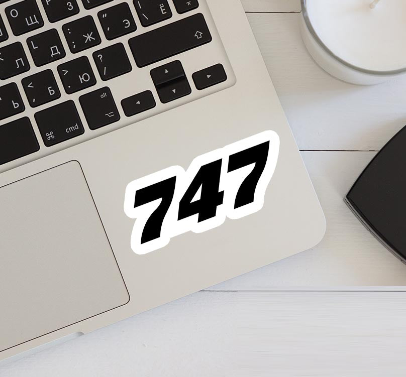 747 Flat Text Designed Stickers
