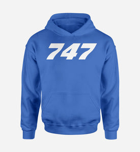 747 Flat Text Designed Hoodies