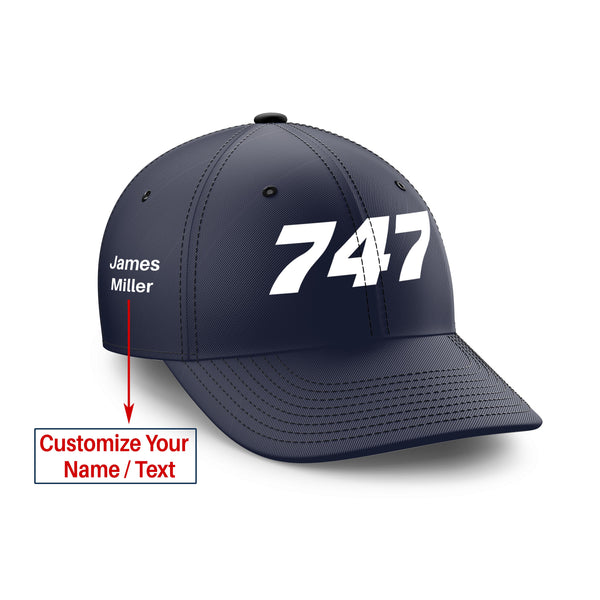 Customizable Name & 747 Flat Text Embroidered Hats