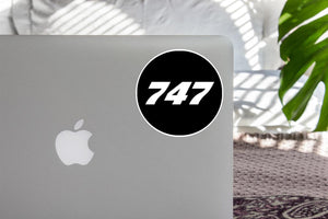 747 Flat Text Black Designed Stickers