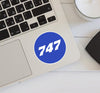 747 Flat Text Blue Designed Stickers