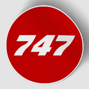 747 Flat Text Red Designed Stickers