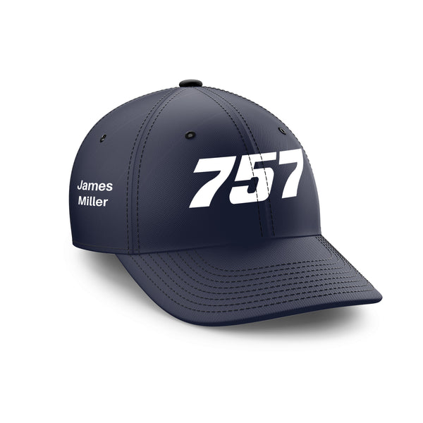 Customizable Name & 757 Flat Text Embroidered Hats