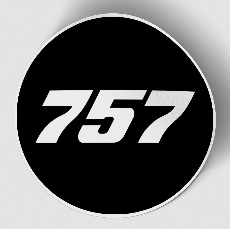 757 Flat Text Black Designed Stickers